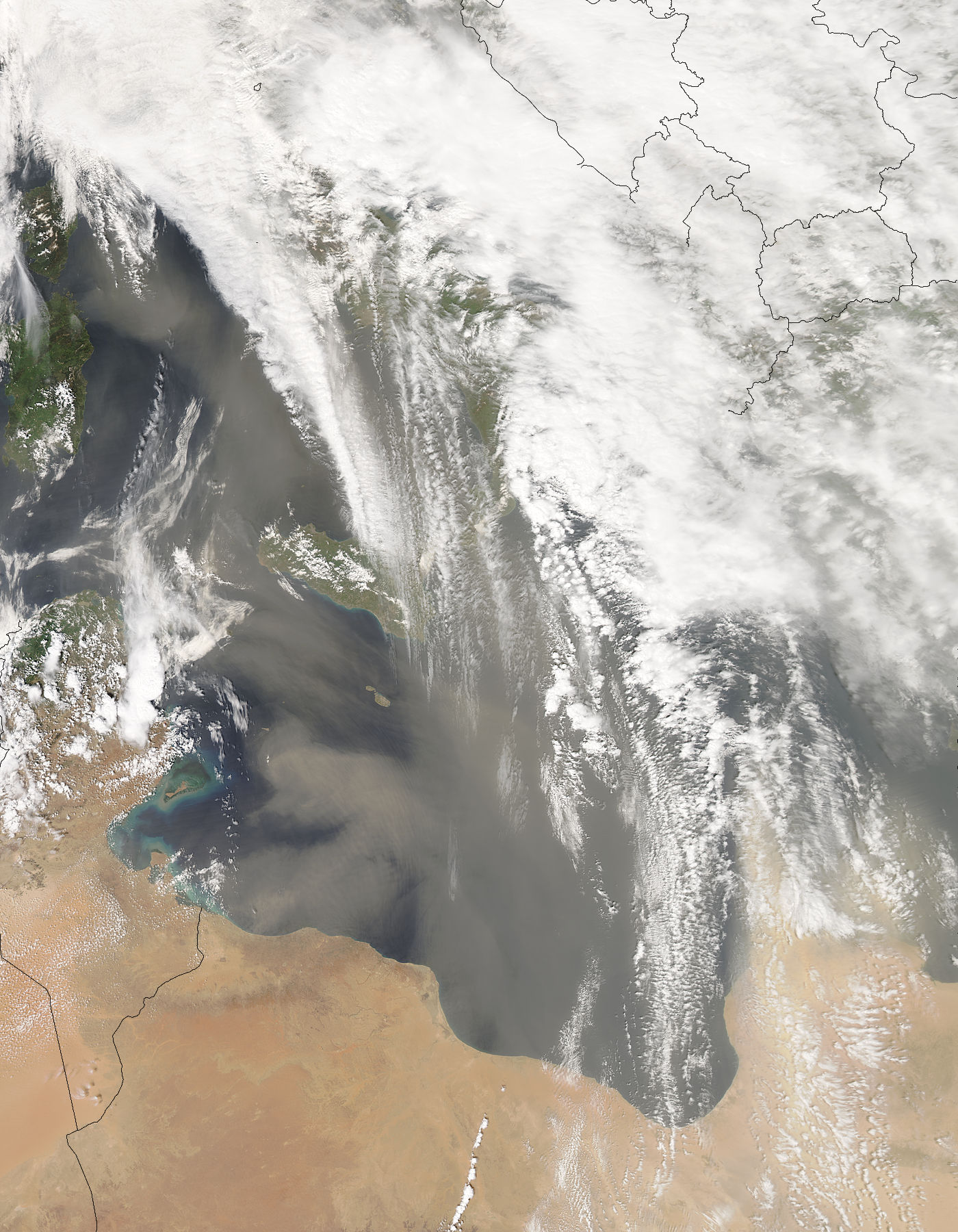 Dust storms across the central Mediterranean Sea - related image preview