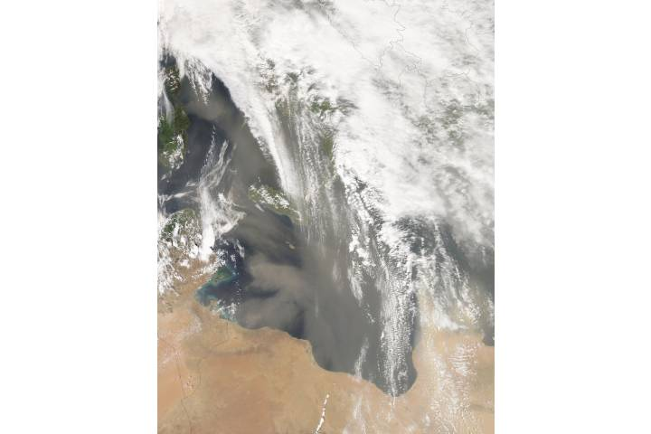 Dust storms across the central Mediterranean Sea - selected image