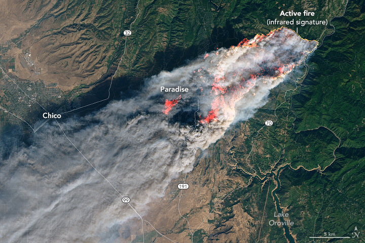 NASA Visible Earth: Camp Fire Rages in California