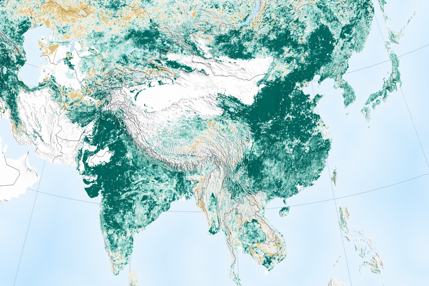 Map Of Asia India.China And India Lead The Way In Greening