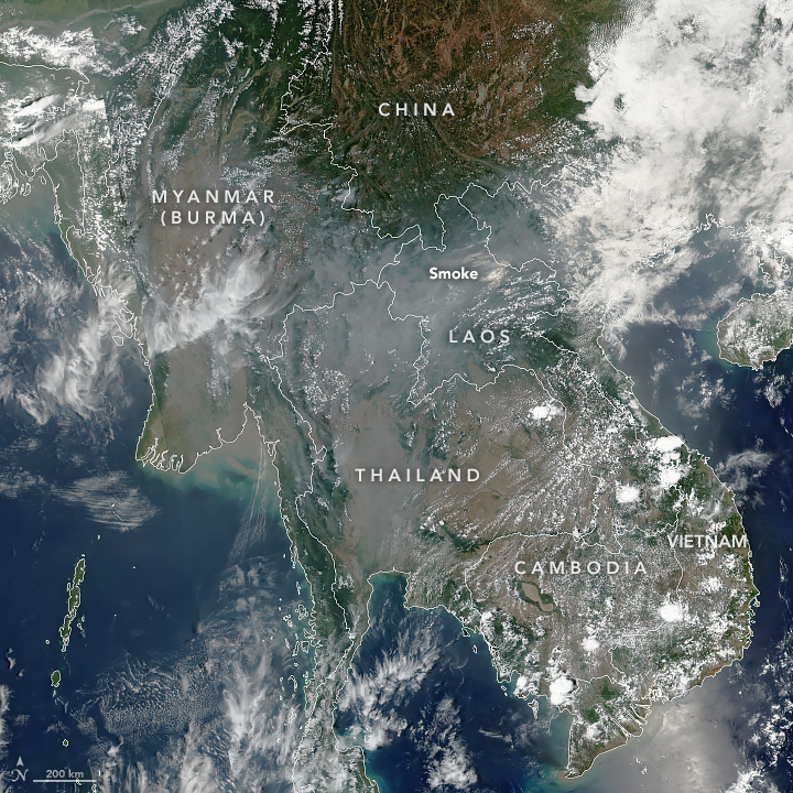 Unhealthy Smoke Over Thailand. Photo courtesy of the Earth Observatory - NASA.