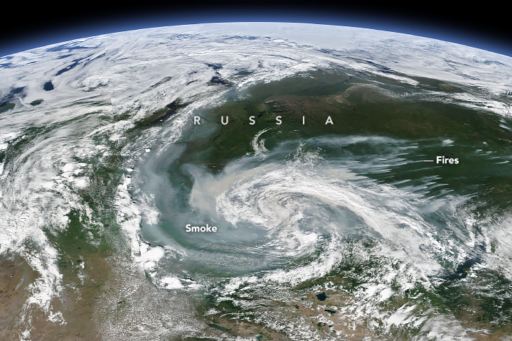 Wildfire Smoke Swirls Over Russia - related image preview