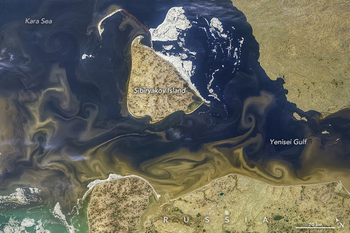 Tawny Swirls in the Kara Sea on euphrates river map, yenisey river map, hudson bay on world map, china world map, altai mountains world map, white sea world map, orinoco river map, siberia world map, maritsa river on map, yucatan peninsula on world map, iraq world map, danube world map, amu darya world map, ural mountains world map, philippines world map, yangtze world map, appalachian mountains on world map, japan world map, caucasus mountains world map, sea of okhotsk world map,