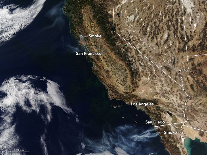 Winds Drive Smoky Wildfires in California, Mexico