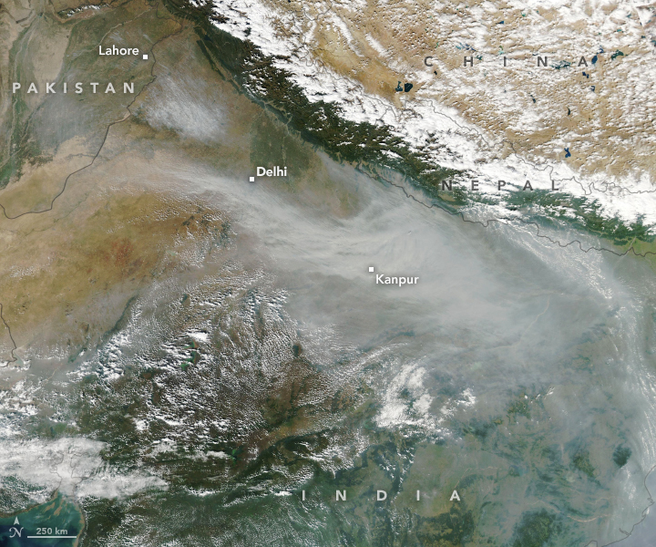 Haze Smothers Northern India