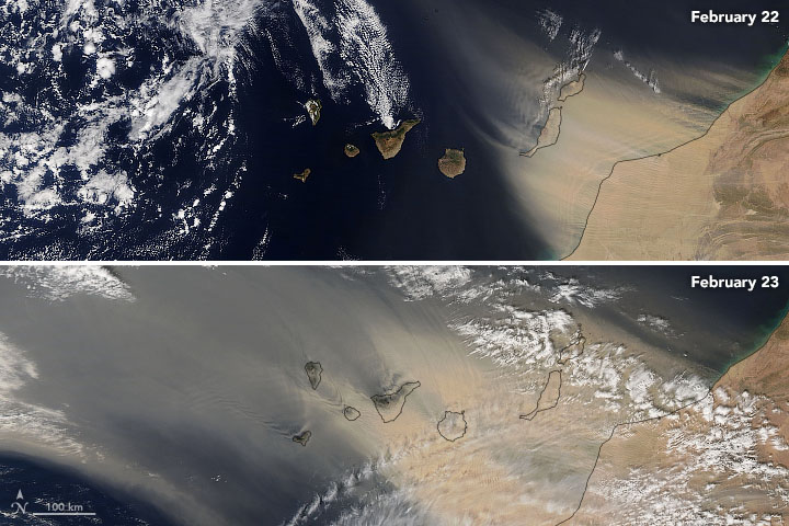 Dust Blankets the Canary Islands