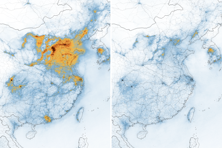 Airborne Nitrogen Dioxide Plummets Over China - selected image