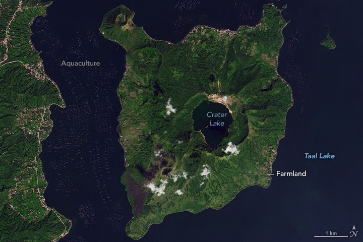 An Ash-Damaged Island in the Philippines
