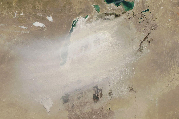 A Dusty Day Over the Aral Sea