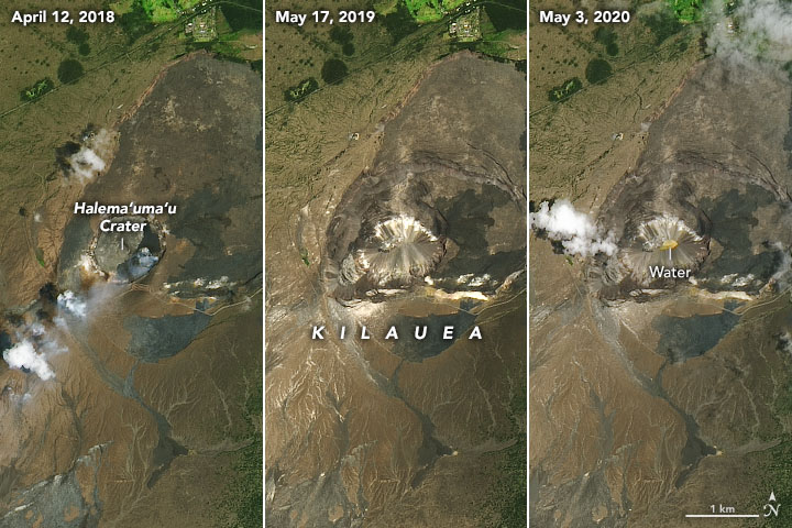 A New Lake—Water Not Lava—On Kilauea