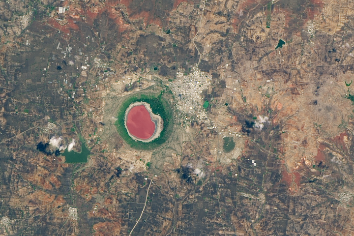 Lonar Lake Tries On a Rosy Color - selected image