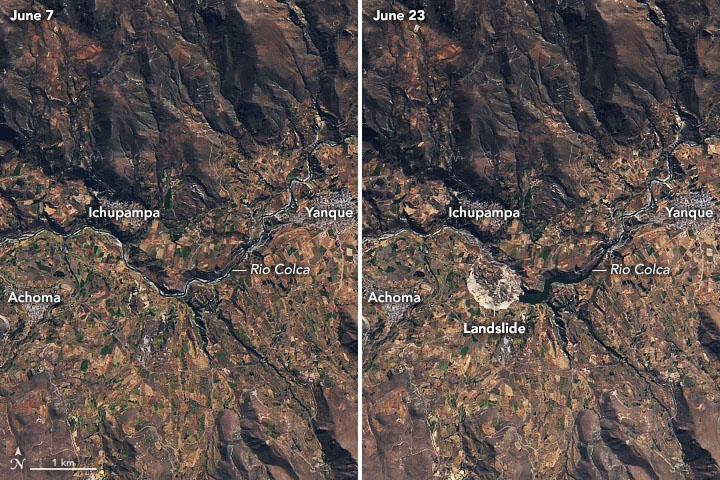 Landslide Blocks Rio Colca