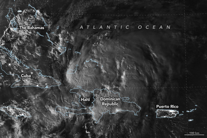 Hurricane Isaias Moves Over the Caribbean