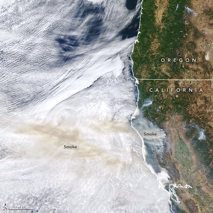 Smoke Blows Over the Pacific