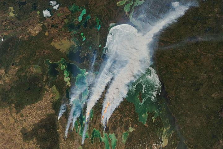 Smoke Replaces Ice at Lake Winnipeg