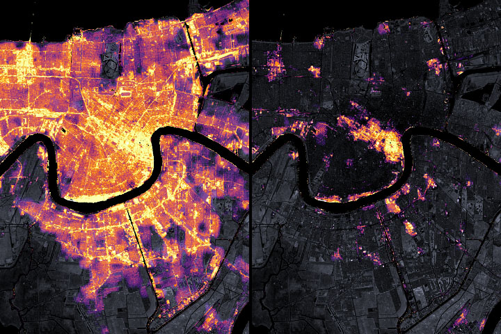 Satellite Observes Power Outages in New Orleans - selected image