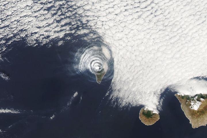 Ash and Cloud Rings Over La Palma