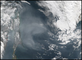 Smoke over the Sea of Okhotsk