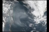 Smoke over the Sea of Okhotsk
