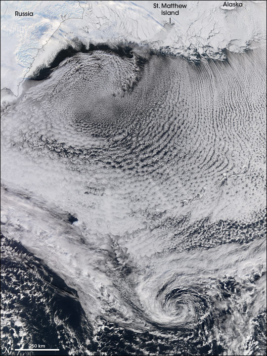 Cloud patterns in the Bering Sea