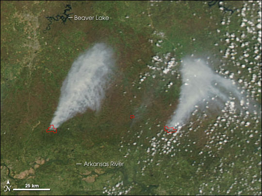 Fires in Arkansas' Boston Mountains