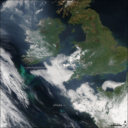 Smoke Over Northern Europe and the Atlantic