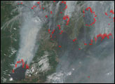 Fires in Russia and China near the Amur River