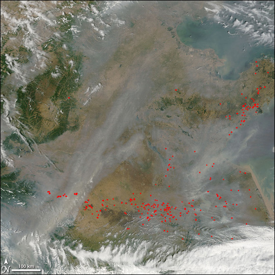 Fires and Haze in Eastern China