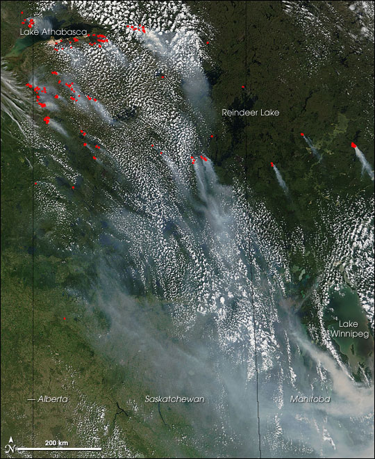 Fires in Central Canada