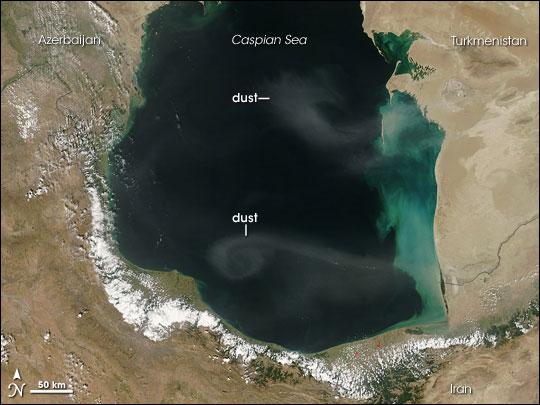 Dust over the Caspian Sea