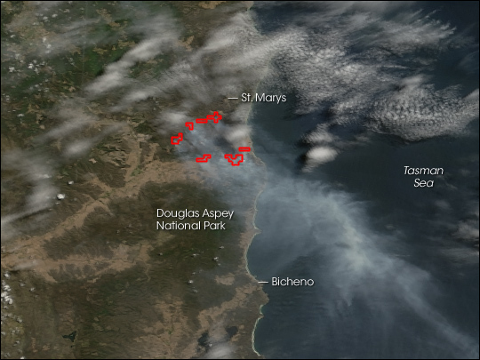 Fires in Northeastern Tasmania