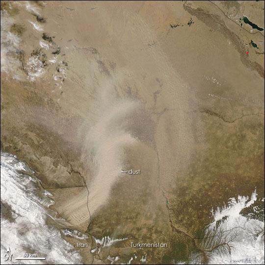 Dust in Iran and Turkmenistan
