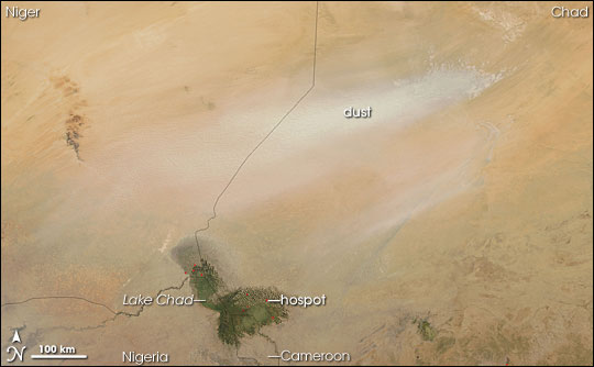 Bodele Depression Dust Storm, Lake Chad Fires