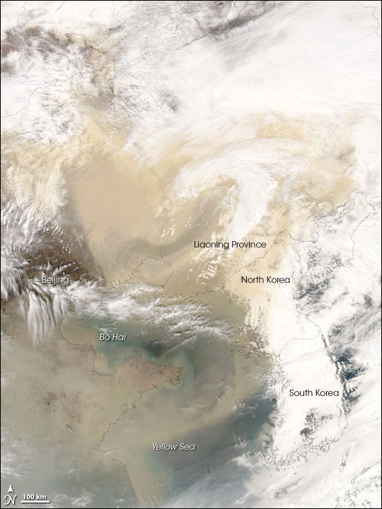 Dust and Clouds over Eastern China