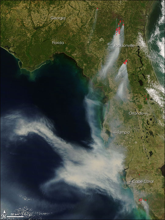 Fires in Georgia and Florida