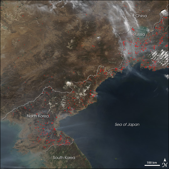 Fires in North Korea, Russia