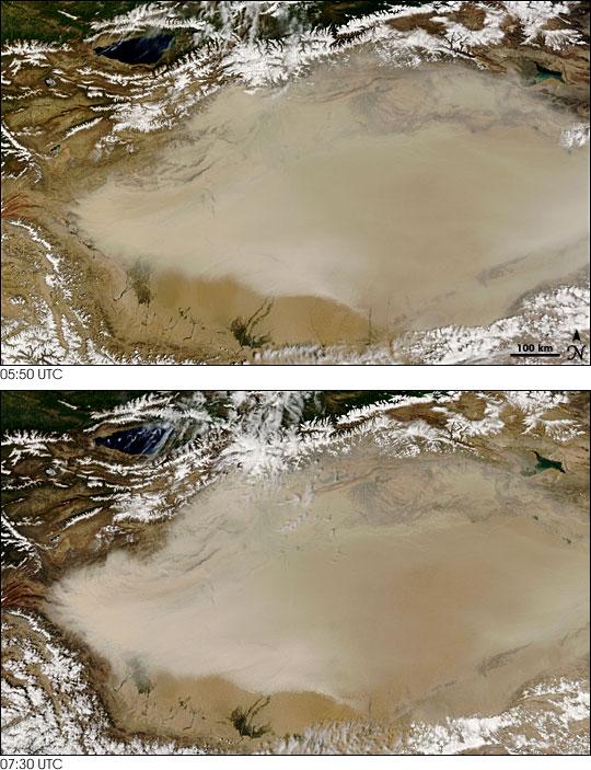 Dust Storm over the Taklimakan Desert