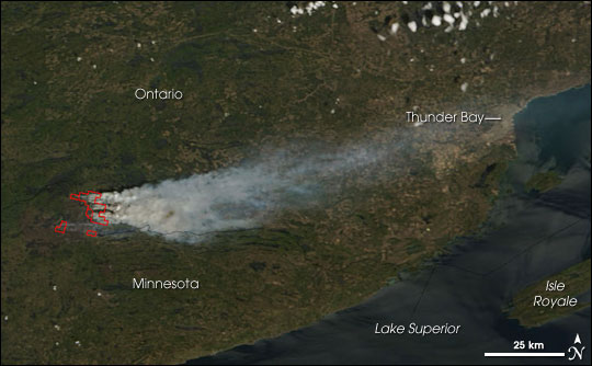 Ham Lake Fire, Minnesota and Ontario