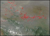 Fires and Thick Haze in Central China