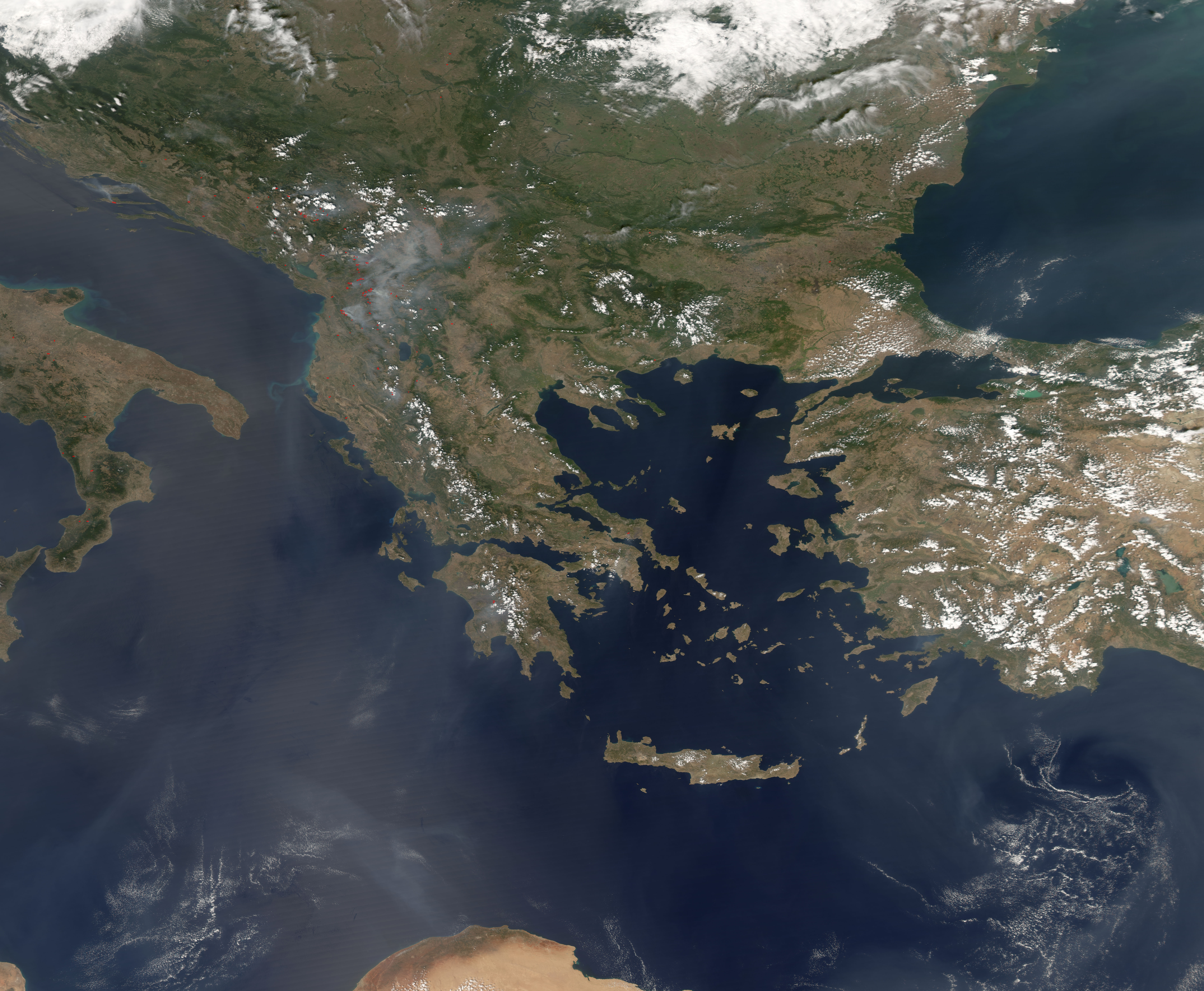 Fires In Southern Europe Natural Hazards - Albania satellite map