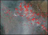 Fires and Thick Smoke over South America