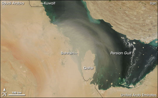 Dust Storm over Bahrain and Qatar