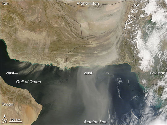 Dust over the Gulf of Oman and Arabian Sea