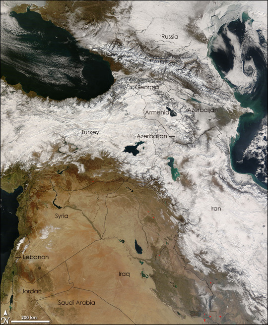 Snow in Southwest Asia