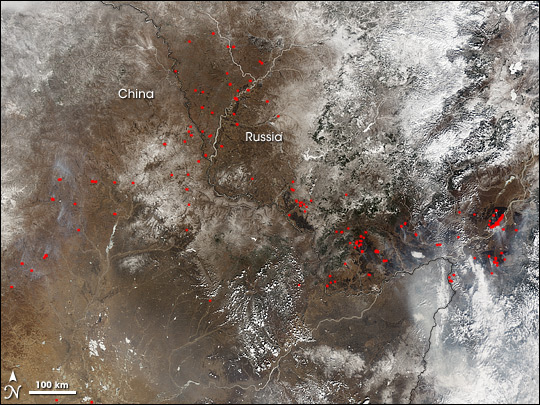 Fires North of Amur River, Russia