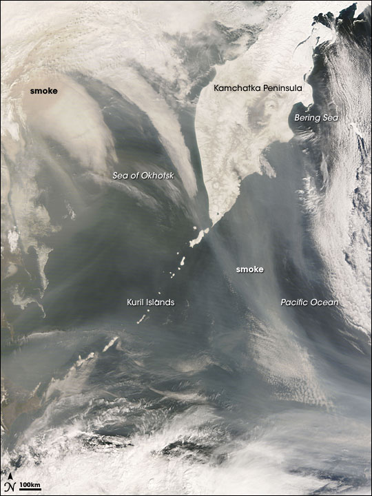Smoke over the Kamchatka Peninsula and Northern Pacific