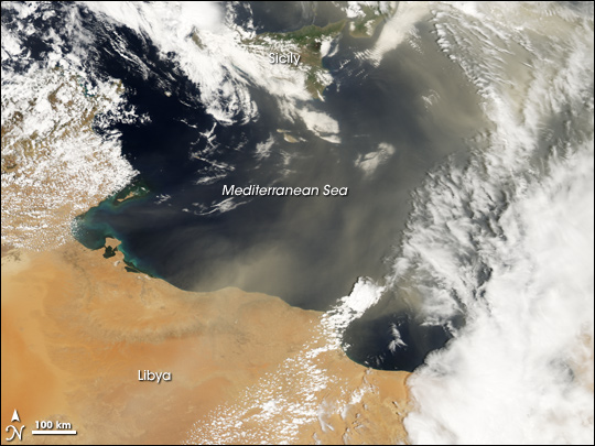 Dust over the Central Mediterranean
