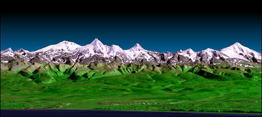 3-D Perspective View, Kamchatka Peninsula, Russia