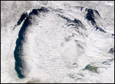 Snow Clouds Stream off Lake Michigan
