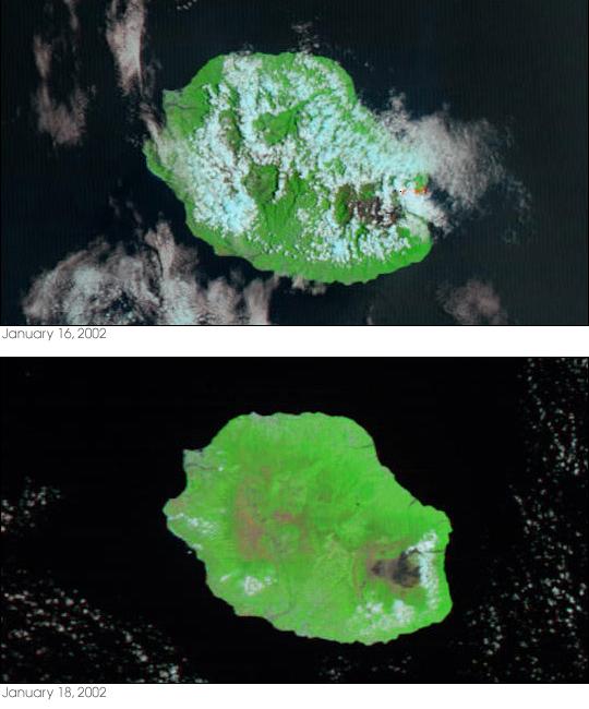 Réunion Island Volcano Erupts